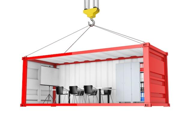 Conteneur d'expédition de fret rouge avec paroi latérale retirée converti en bureau pendant le transport avec crochet de grue sur fond blanc. rendu 3d