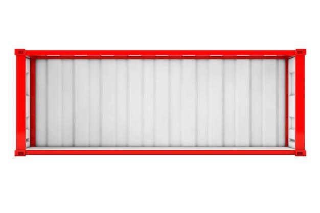 Conteneur d'expédition rouge vide avec paroi latérale retirée sur fond blanc. rendu 3d.