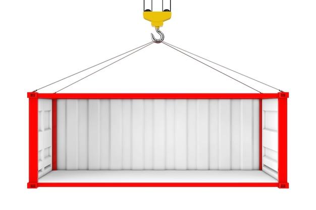Conteneur d'expédition rouge vide avec paroi latérale retirée pendant le transport avec crochet de grue sur fond blanc. rendu 3d