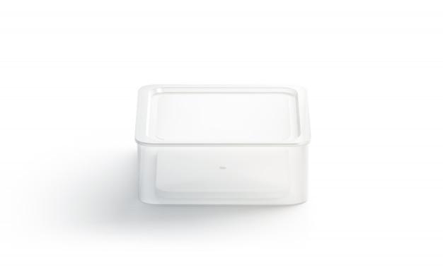 Conteneur jetable carré blanc vierge isolé,