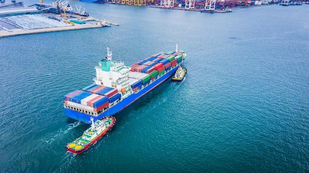Conteneur maritime cargo business international import export produit de consommation en haute mer