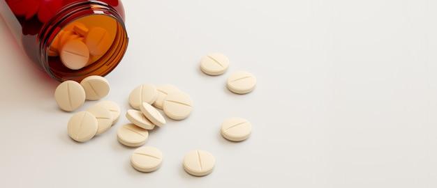 Conteneur médical et pilules sur surface blanche