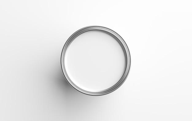 Conteneur de pot de peinture et couleur blanche dans un seau en métal pour les travaux de rénovation domiciliaire isolés sur fond blanc avec concept de vue ouverte sur le dessus. rendu 3d.