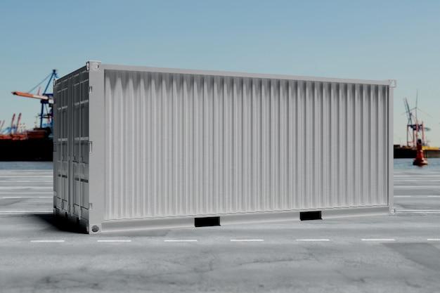 Un conteneur sur le quai - rendu 3d