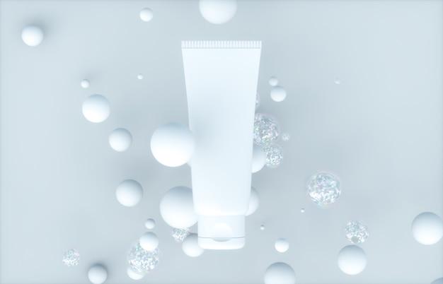 Conteneur de tube vierge de produit cosmétique naturel avec des bulles bio organiques.