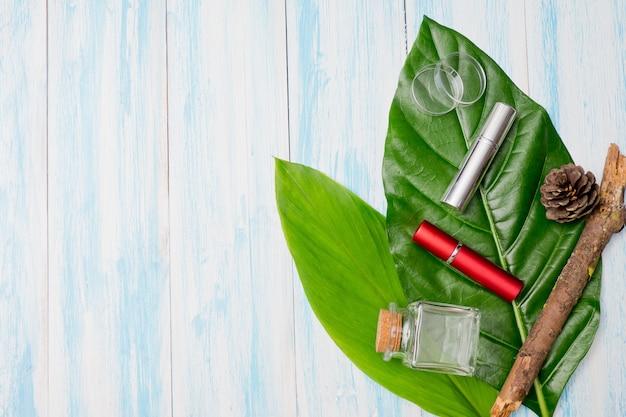 Conteneurs de bouteilles de cosmétiques naturels sur feuille verte, bouteille vide