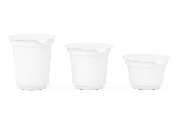 Conteneurs d'emballage blancs vierges pour yaourt, crème glacée ou dessert sur fond blanc. rendu 3d