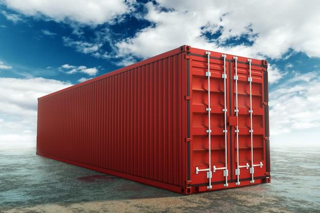 Conteneurs maritimes contre le ciel bleu, port industriel avec conteneurs. concept logistique, livraison rapide. technique mixte, espace copie.