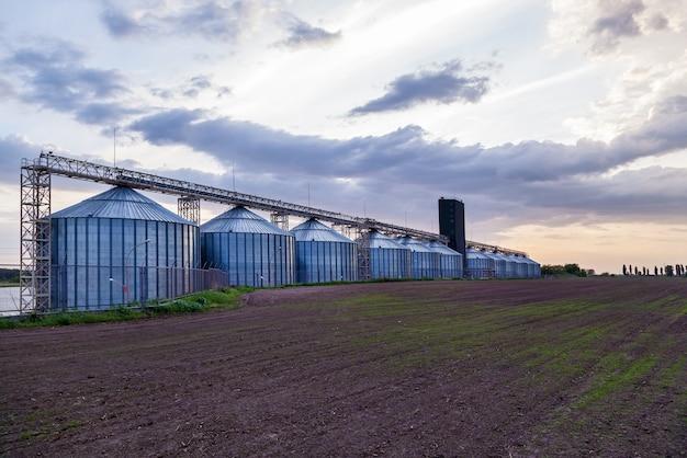 Conteneurs métalliques industriels pour le stockage de céréales, de graines de tournesol, de maïs, de soja et de lapins au coucher du soleil