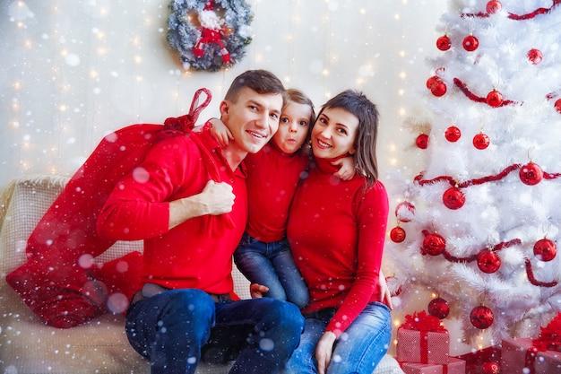 Contenu de la famille en rouge se présentant à la caméra