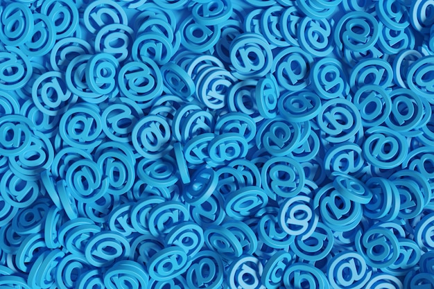 Contexte de beaucoup de panneaux arobase de couleur bleue.
