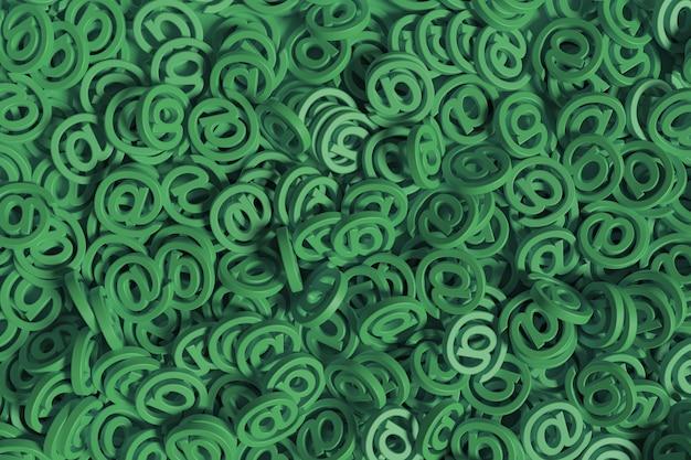 Contexte de beaucoup de panneaux arobase de couleur verte.