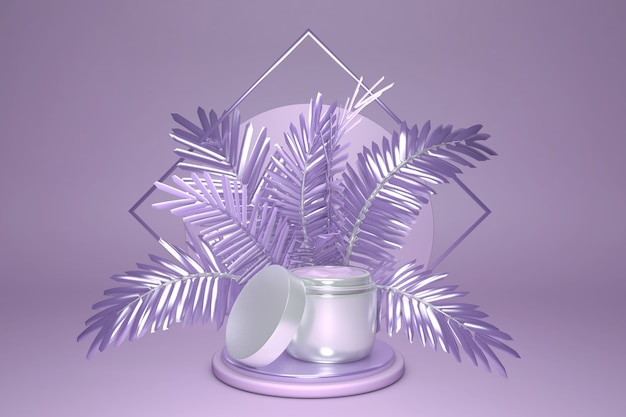 Contexte cosmétique minimal pour la présentation du produit maquette de crème sur le podium et palmier violet sur illustration de fond de couleur violet pastel