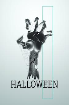 Contexte créatif d'halloween. lettrage d'halloween et main de zombie sur fond clair.