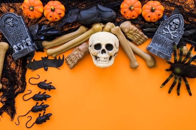 Contexte de halloween avec le crâne