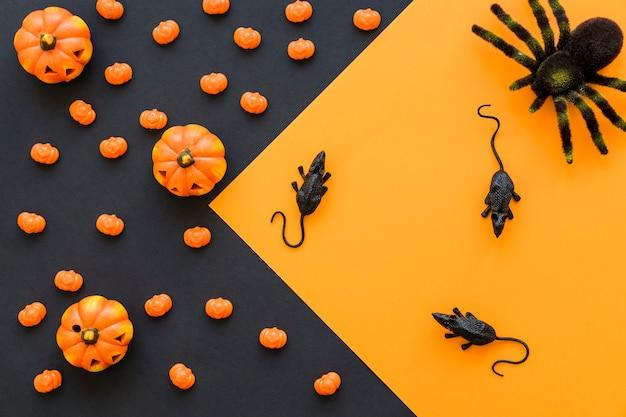 Contexte de halloween avec des rats et de l'araignée