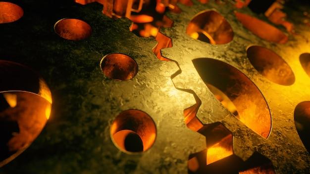 Contexte de mécanismes rotatifs en métal doré. concept de flux de travail d'entreprise.