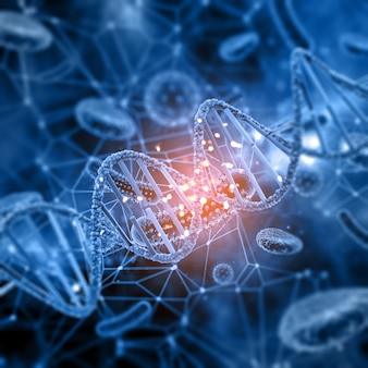 Contexte médical 3d avec des cellules virales abstraites et un brin d'adn
