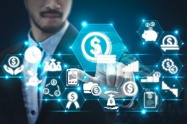 Contexte de la technologie finance and money transaction