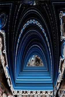 Contexte technologique abstrait - portail ouvert. image générée par ordinateur. géométrie fractale : portail ou couloir de blocs. contexte de science-fiction ou de haute technologie. tunnel ou couloir futuriste. rendu 3d.