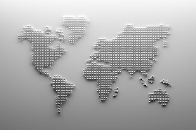 Contour de carte du monde blanc avec des points