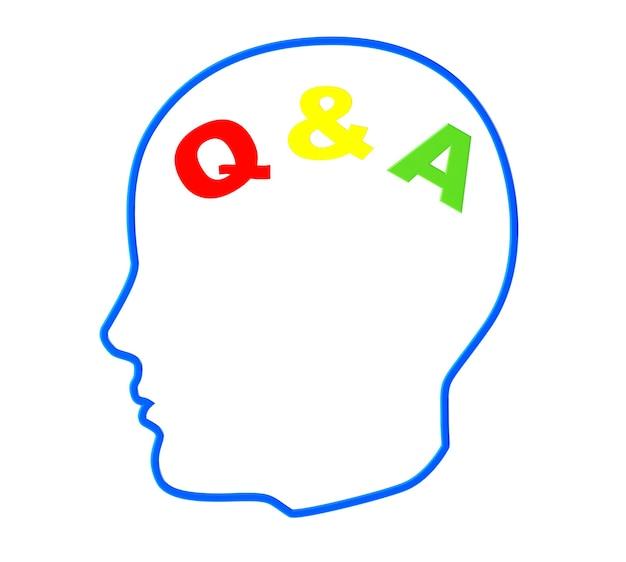 Contour de la tête avec signe de questions et réponses sur fond blanc