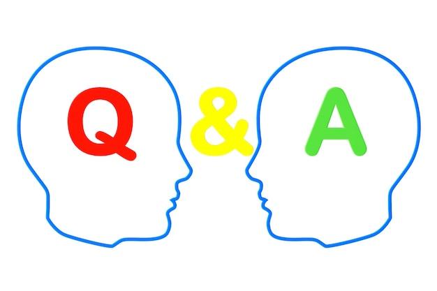 Contour des têtes avec des signes de questions et réponses sur fond blanc