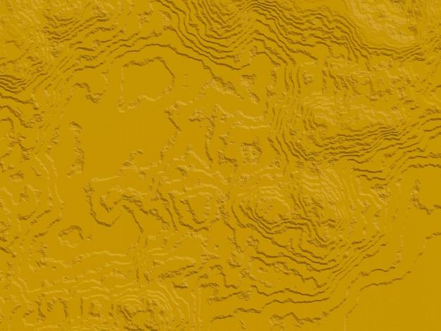 Contour topographique jaune abstrait rendu 3d.