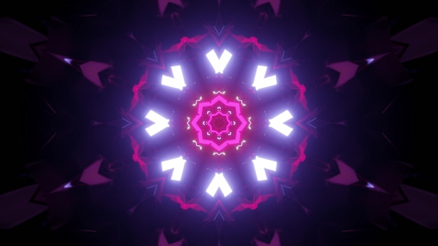 Contraste vibrant illustration 3d abstrait visuel de fond sombre fantastique tunnel en forme de rond éclairé par des néons blancs et roses formant ornement géométrique