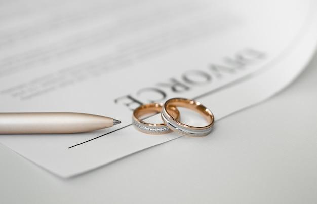 Contrat de divorce en gros plan avec anneaux