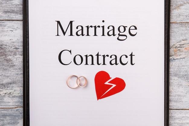 Contrat de mariage ou concept de divorce.