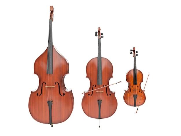 Contrebasse, violon et violoncelle isolé sur blanc