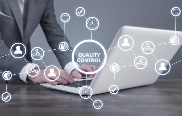 Contrôle qualité, industrie, technologie, internet, entreprise