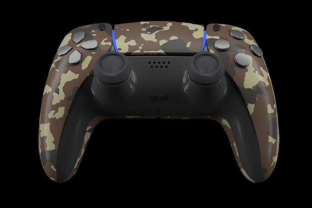 Contrôleur de jeu vidéo réaliste isolé sur fond noir avec un tracé de détourage