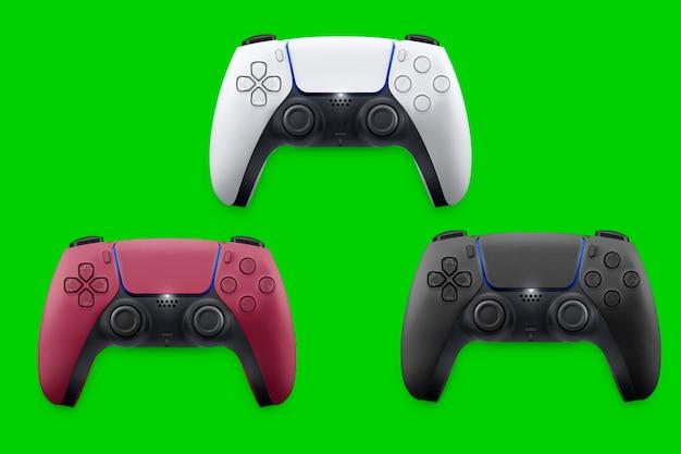 Contrôleurs de jeu blancs, rouges et noirs de nouvelle génération isolés sur fond vert. vue de dessus. clé chroma.