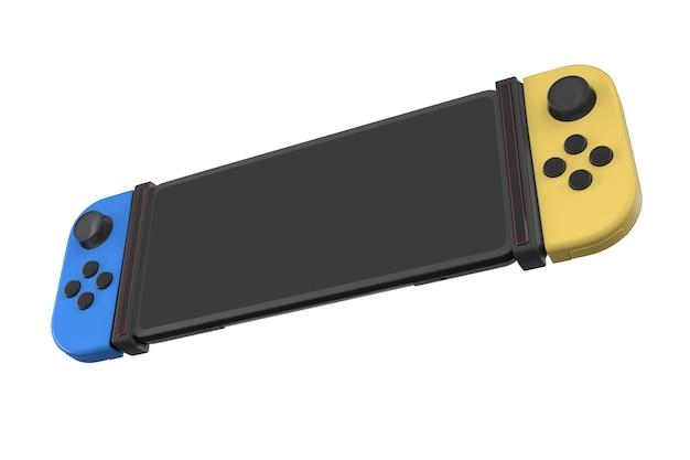 Contrôleurs de jeux vidéo réalistes attachés au téléphone portable isolés sur blanc