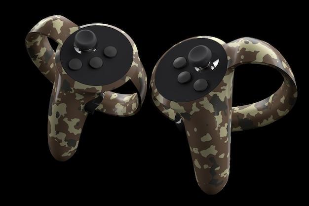 Contrôleurs de réalité virtuelle pour les jeux en ligne et en nuage isolés sur fond noir avec chemin de détourage. rendu 3d de l'appareil pour la réalité augmentée ou vr