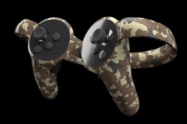 Contrôleurs de réalité virtuelle pour les jeux en ligne et en nuage isolés sur fond noir