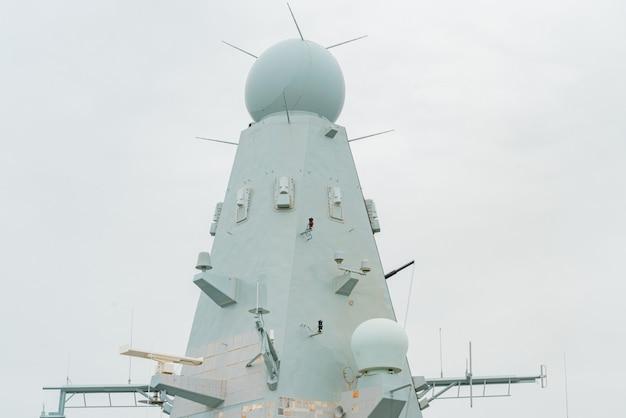 Contrôlez l'ensemble radar de navigation des antennes du navire militaire. voyage militaire. radars. radar. guerre