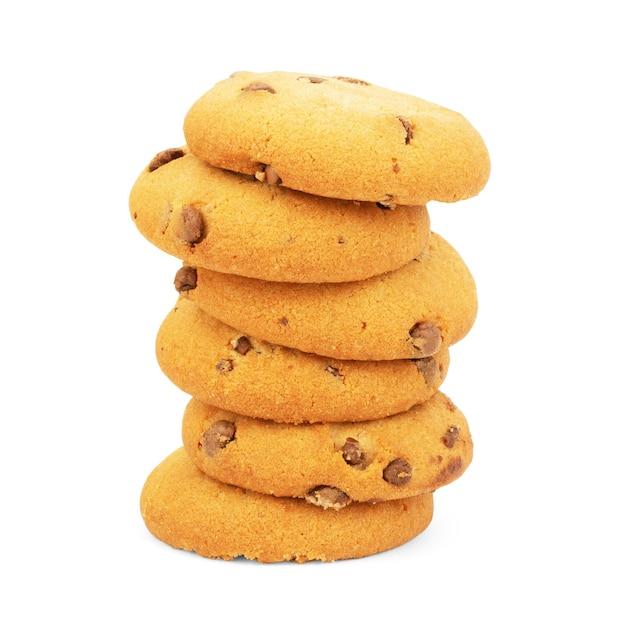 Cookie aux pépites de chocolat isolé sur fond blanc