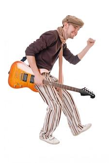 Cool guitariste sur blanc