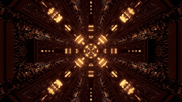Cool jaune rendu 3d lumières techno de science-fiction futuriste