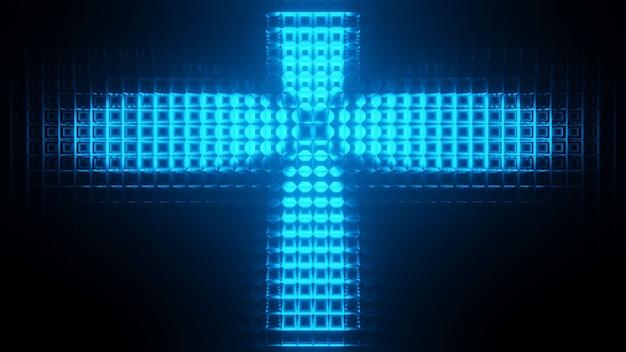 Cool lumières techno futuristes de science-fiction en forme de croix