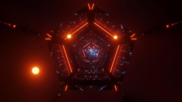 Cool lumières techno futuristes de science-fiction de forme triangulaire