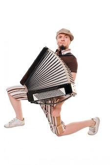 Cool musicien avec accordéon