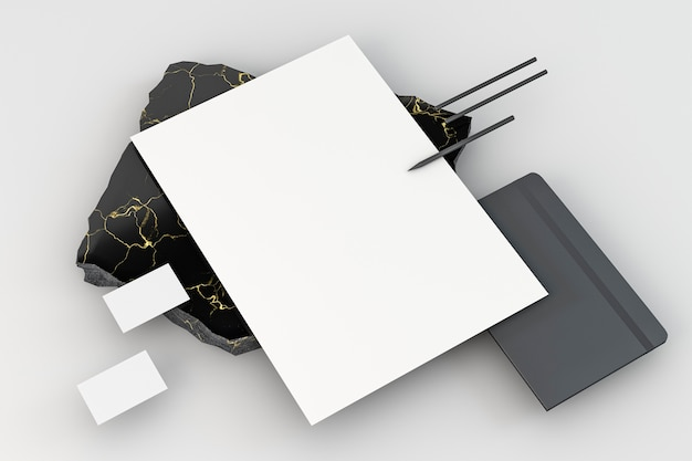 Copiez les documents de papeterie de l'espace vue élevée avec des crayons