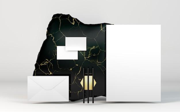 Copiez des documents de papeterie spatiale et du marbre sombre