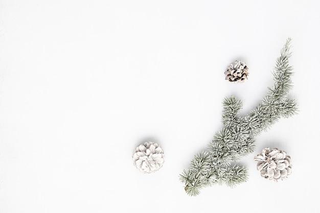 Copiez l'espace avec branche d'arbre de noël et pomme de pin, mise à plat, vue de dessus