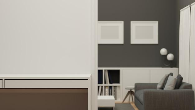 Copiez l'espace sur le dessus de table moderne blanc mur moderne blanc avec intérieur flou de salon