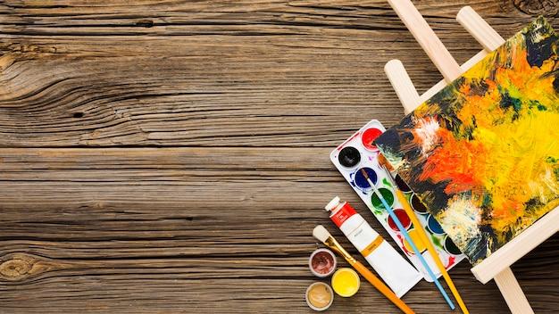 Copiez l'espace fond en bois et peinture